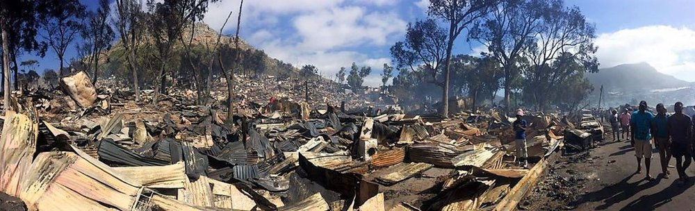 Devastating fires in Hout Bay in 2017 caused many people to be displaced and left destitute.