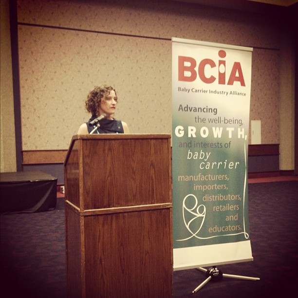 Vesta Garcia giving the annual report at Baby Carrier Alliance gathering at #abckids12 in louisville