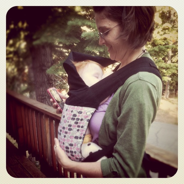mightymarce: My sis @c4shay trying out my @catbirdbaby mei tai. #babywearing #happybwing (Taken with instagram)