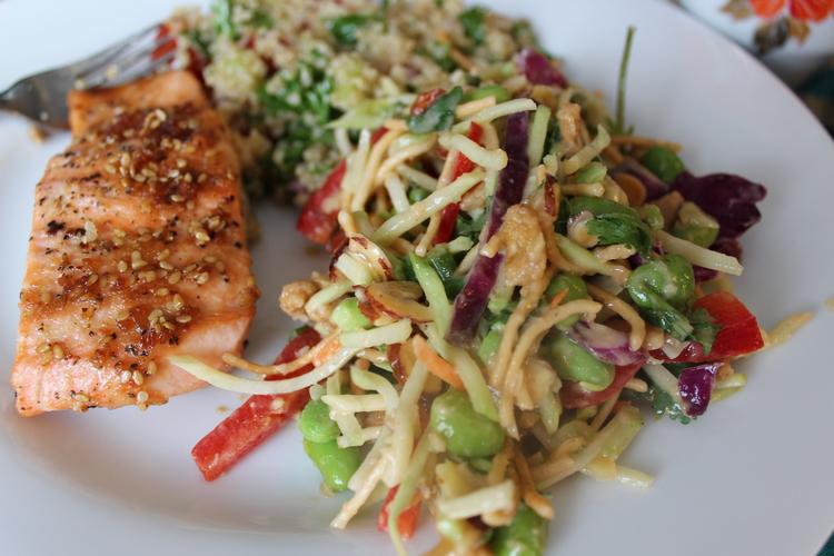 Teriyaki+Salmon%2C+Mediterranean+Salad%2C+Asian+Broccoli+Salad+with+Peanut+Dressing. Light Lunch with Girlfriends - Teriyaki Salmon Recipe