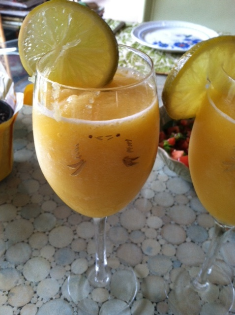 Pineapple+Smoothie+2 Poblano Pepper Stuffed with Eggs, Shrimp and Bacon