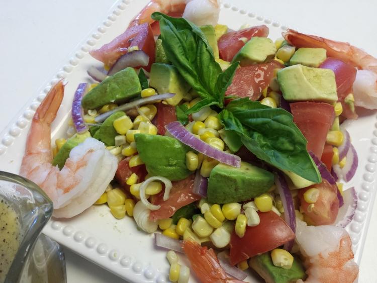 Avocado%2C+Tomato%2C+Corn+and+Shrimp+Salad+with+Basil+Vinaigrette Avocado, Tomato, Corn and Shrimp Salad with Basil Vinaigrette