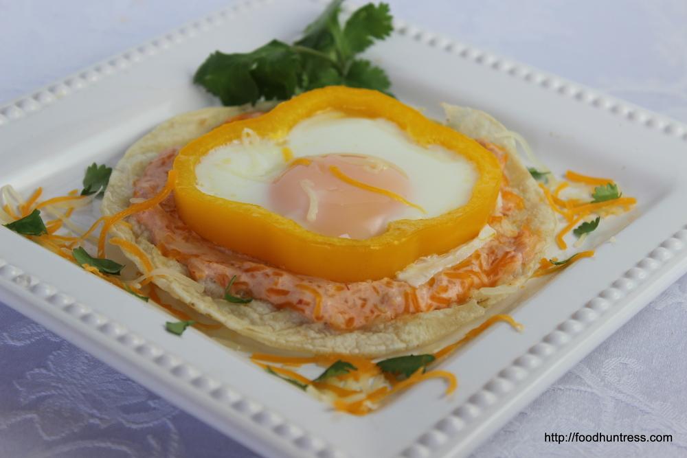 Eggs+Tostada+with+Salsa+Cream+Sauce Egg Tostada with Salsa Cream Sauce