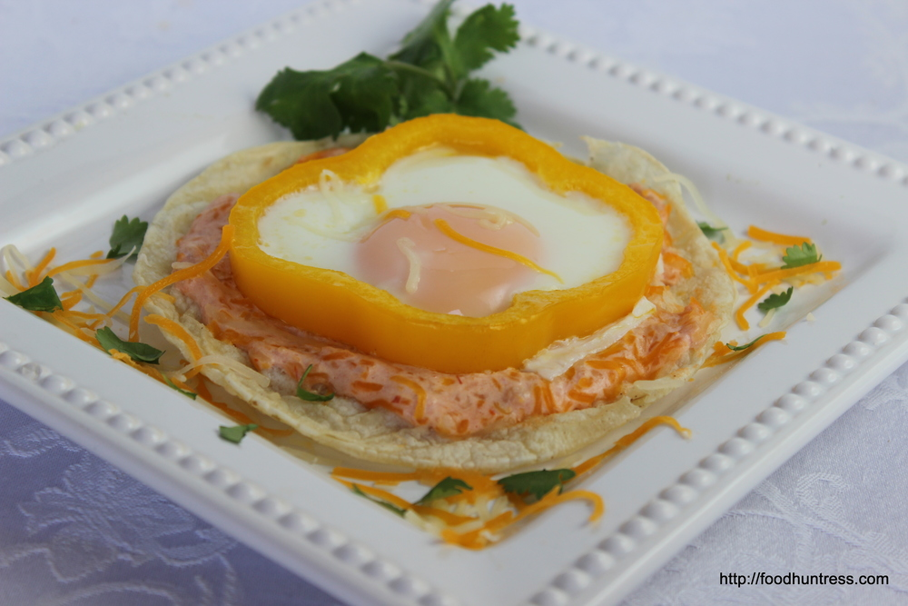 Egg+Tostada+with+Salsa+Cream+Sauce Egg Tostada with Salsa Cream Sauce