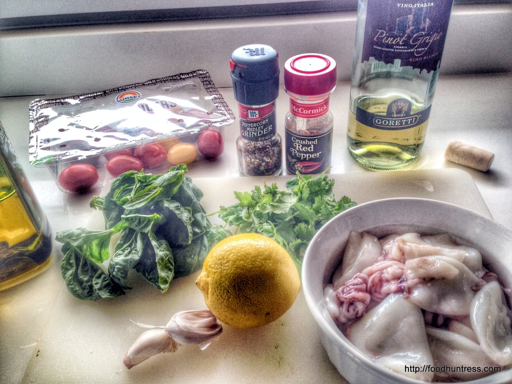 ingredients+for+Linguine+with+Squid+and+Cilantro+Basil+Sauce Linguine with Squid and Cilantro Basil Sauce