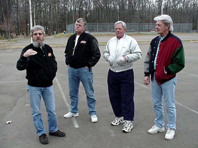 Group before breakfast (from left to right) - Paul Kosma explaining how tall she was - Mike Rial believes none of it - Ed Bloodworth also skeptical - Lennie Green wishes she would drive by again