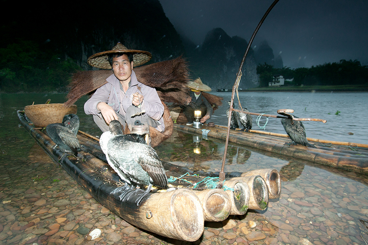 Night fishermen, Li River, Guangxi, China 16-35mm lens (for 22mm), f/10 for 1/5 sec., ISO 400