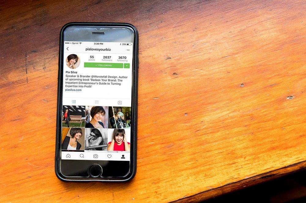 Persoanl Branding Expert Pia Silva's Instagram Feed on a phone