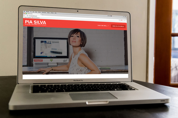 speaker personal branding expert pia silva on laptop