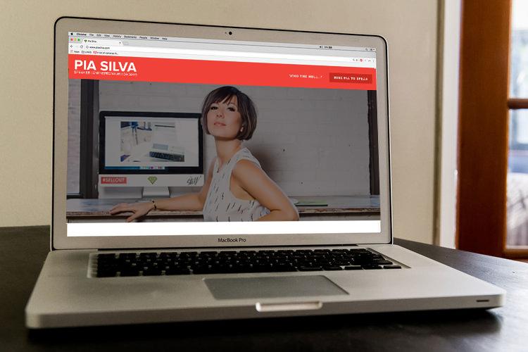 speaker personal branding expert pia silva on laptop