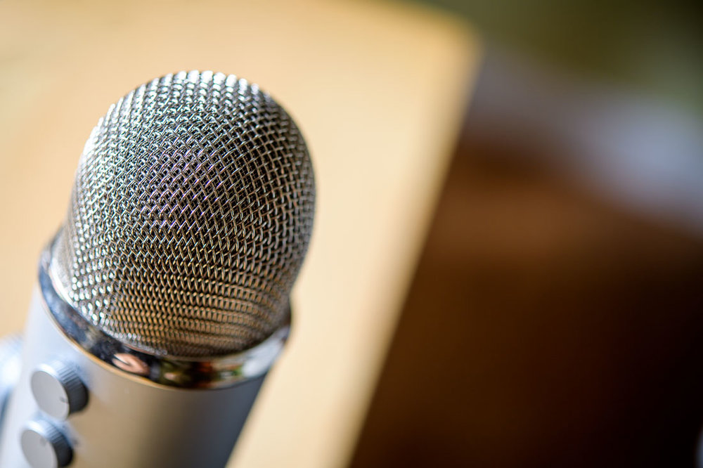 Branded Image Content of Podcast Microphone