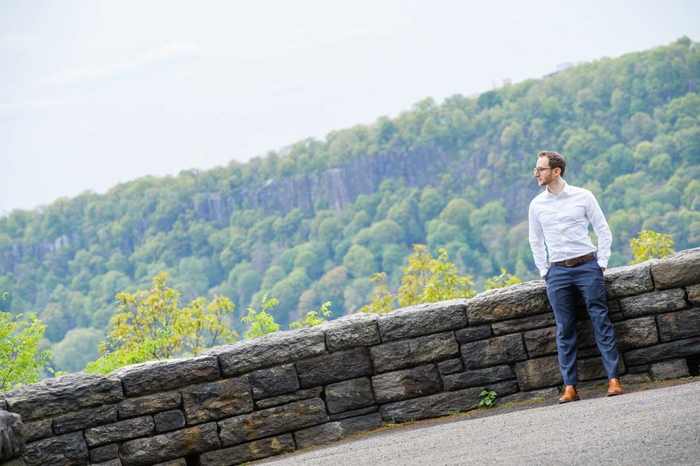 branded lifestyle portraits NYC Shir Aviv thinking in Ft Tryon Park