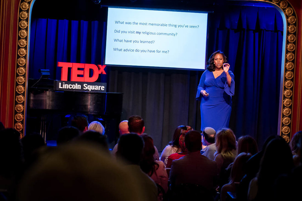 NYC branded lifestyle portrait TEDxLincolnSquare Pamay Bassey speaking