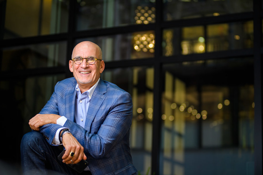 NYC Branded Lifestyle Portrait SpeakerAuthor Thought LEader Ted Rubin smiling to cam