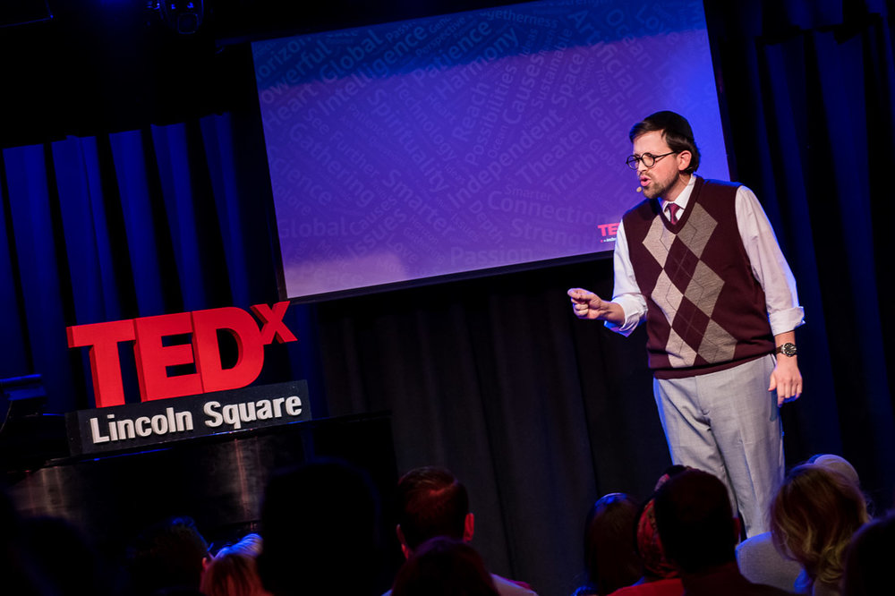 NYC Branded Lifestyle Portrait TEDxLincolnSquare Rabbi Poupko pointing and talking