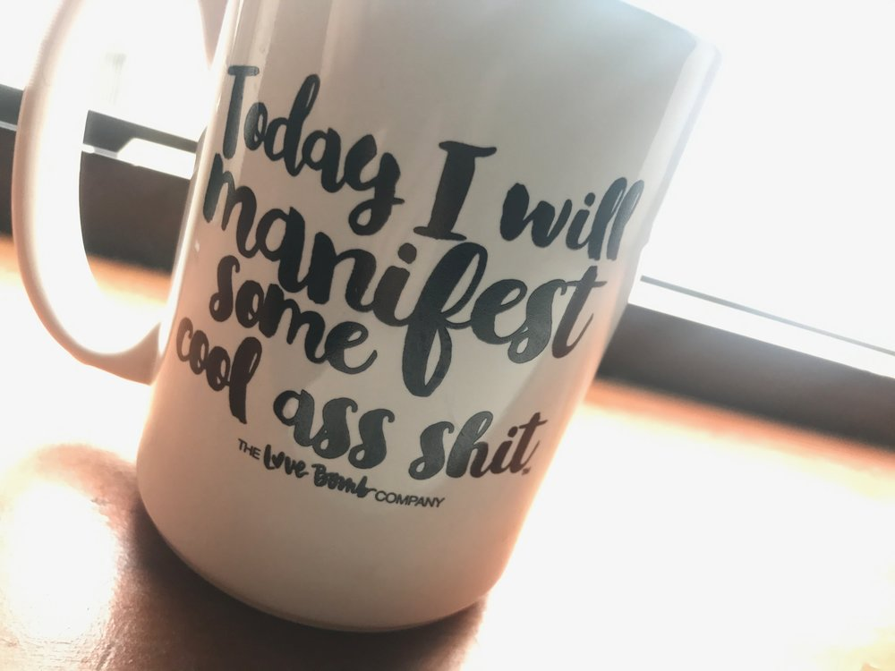 This is my current, morning coffee mug based on it's magical approach to bring a positive vibe to the start of the day. Thanks again,  @donnacravotta  for this cool ass shit, :) . Have a great Sunday, wherever you are and whatever you're doing, :)