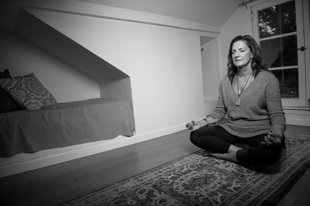 NYC Branded Lifestyle Portrait meditating wide shot
