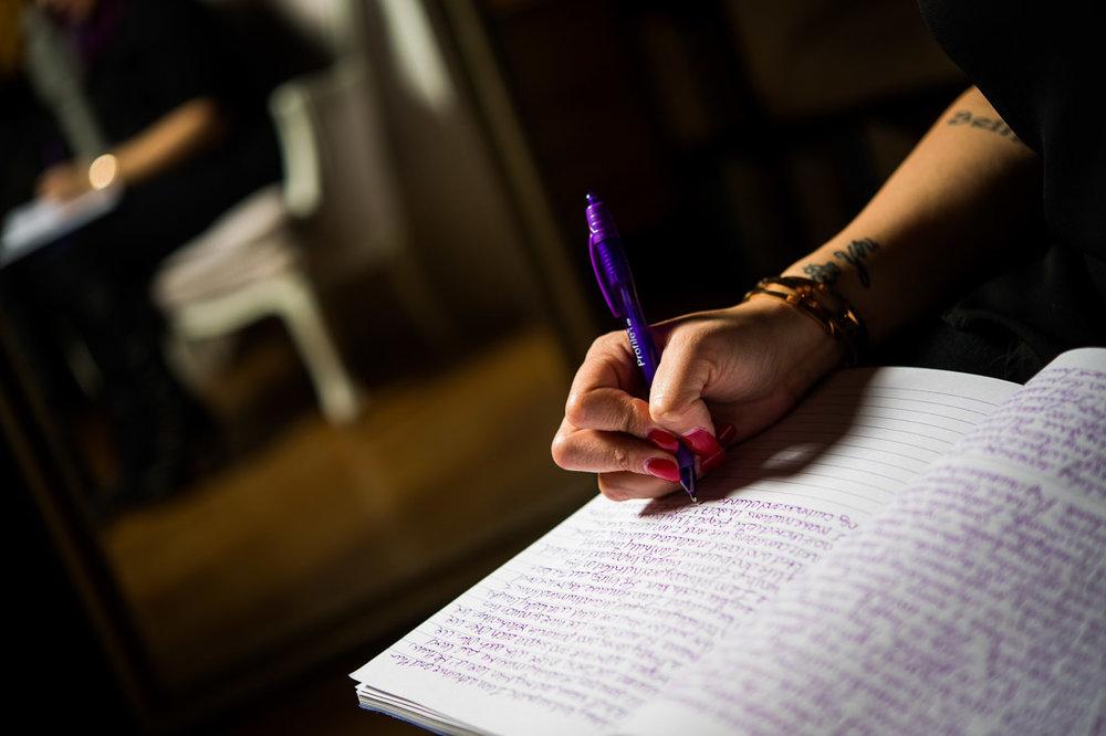 NYC Branded Lifestyle Portrait Coach Speaker Jenn Scalia writing in journal