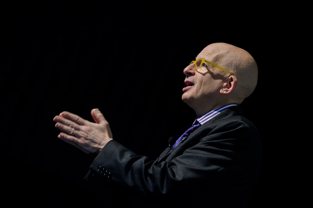 Branded Lifestyle Portrait Seth Godin Smarthustle Conference side angle on stage