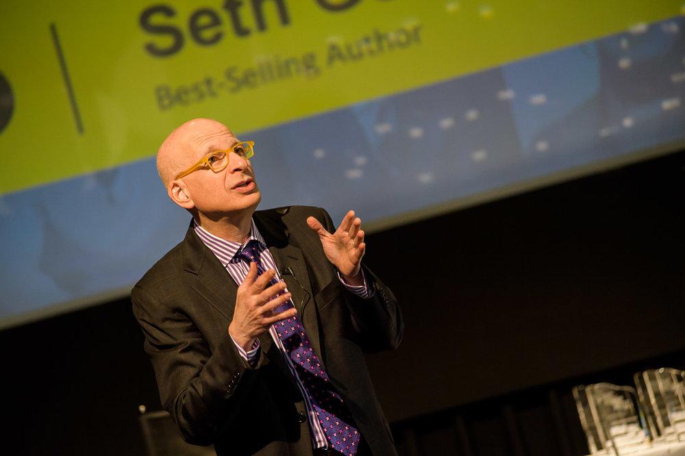 Branded Lifestyle Portrait Seth Godin Smarthustle Conference talking with hands
