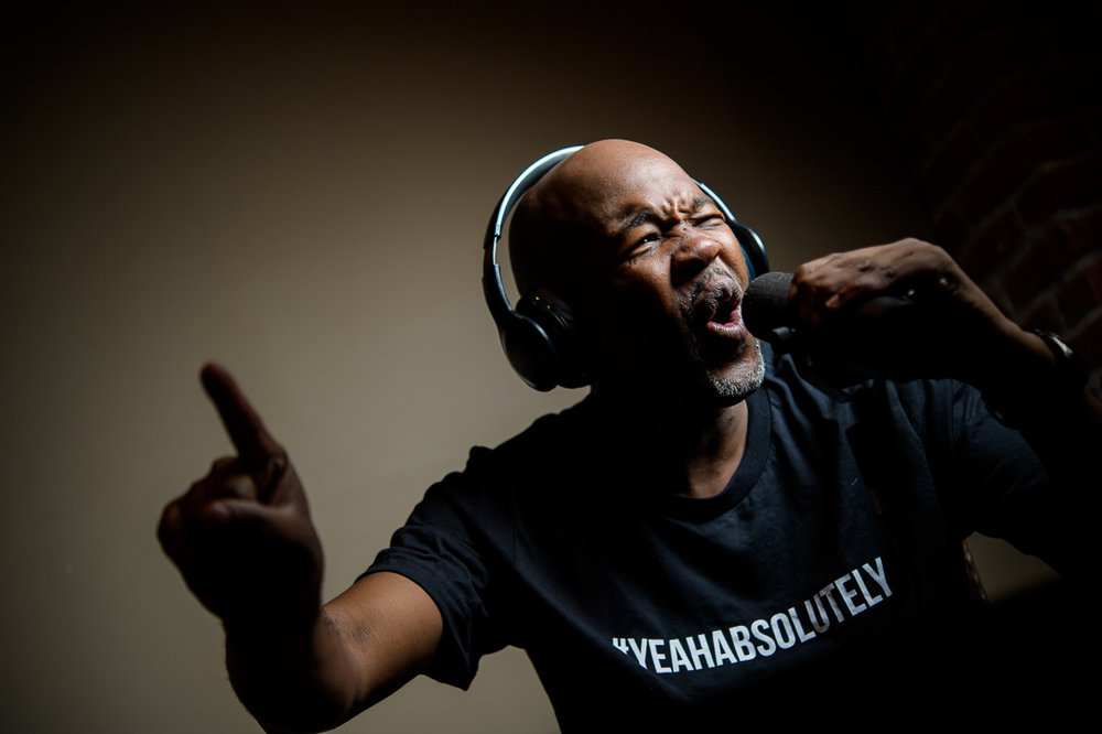Branded Lifestyle Portrait of Podcaster Gerald Moody during a recording