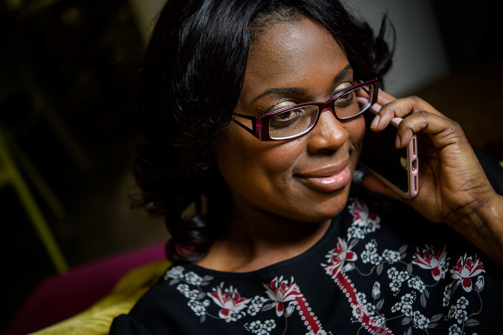 Branded Lifestyle Portrait of Sandy Rocourt on the phone