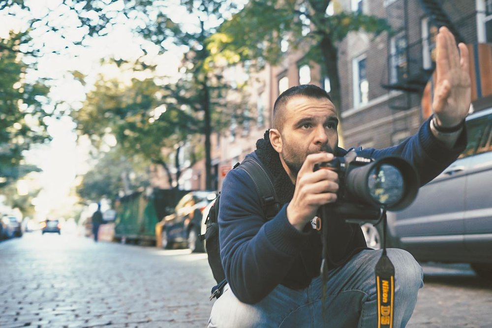 NYC Branded Lifestyle Portrait - DeMato shooting and directign with hand.JPG