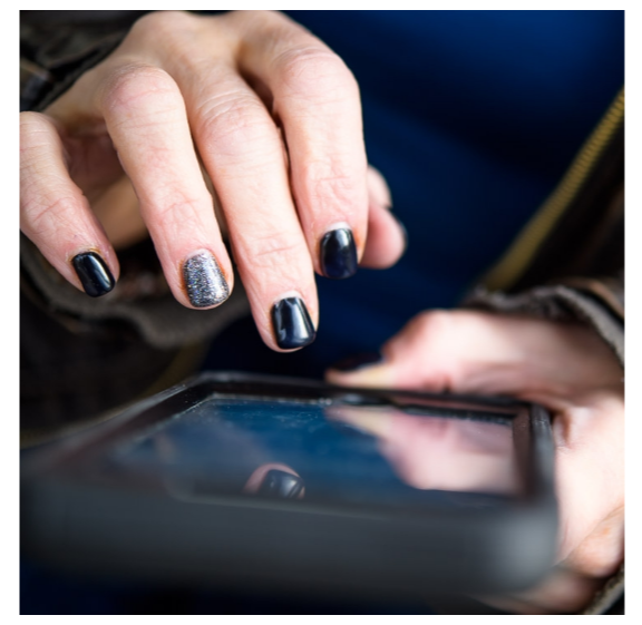 branded lifestyle portrait female hand on phone