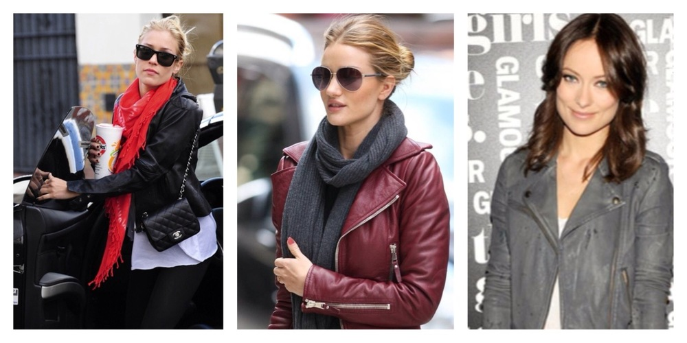 Kristen Cavallari, Rosie Huntington-Whiteley & Olvia Wilde in killer moto jackets.