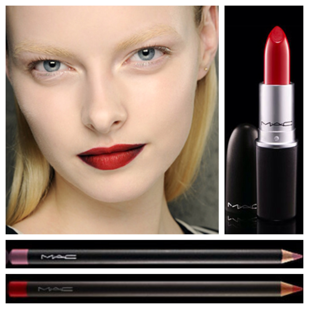 A rich, red lip from Kenneth Cole's Fall 2013  runway.