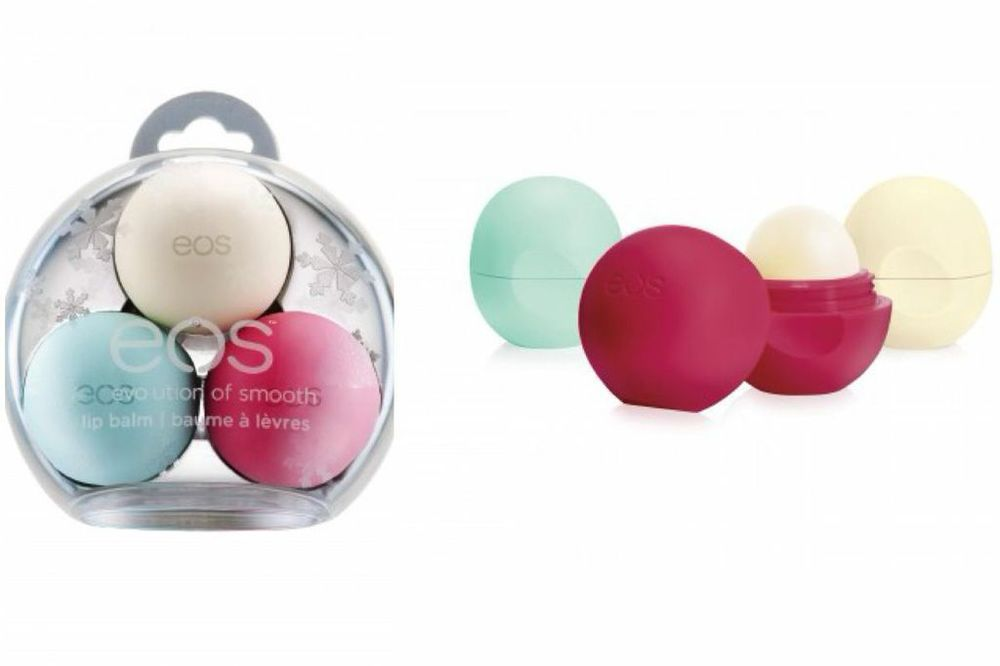 Special Edition eos lip balms in Sweet Mint, Pomegranate Raspberry & Vanilla Bean.