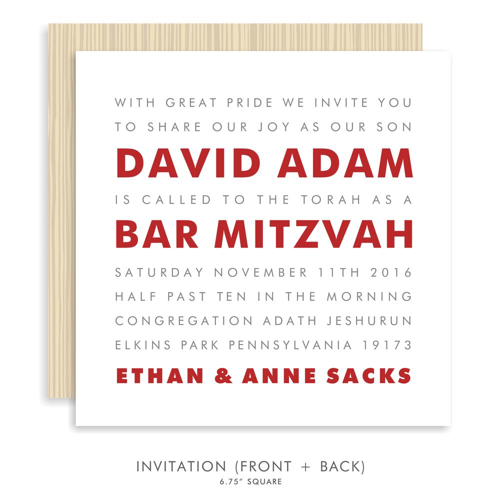 David adam suite 5203 red bar mitzvah invitations bar mitzvah 5203 02g solutioingenieria Choice Image