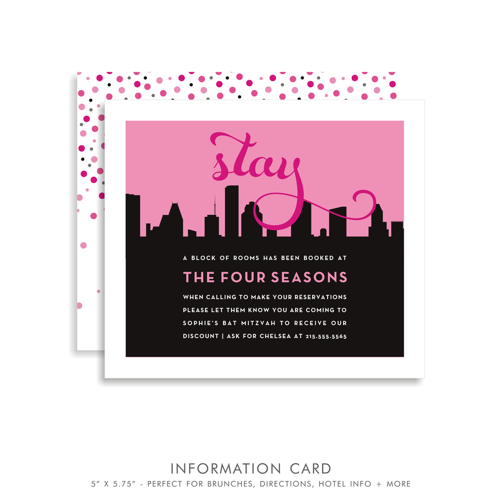 Sophie in the City Suite 5121 Pink and Black Bat Mitzvah