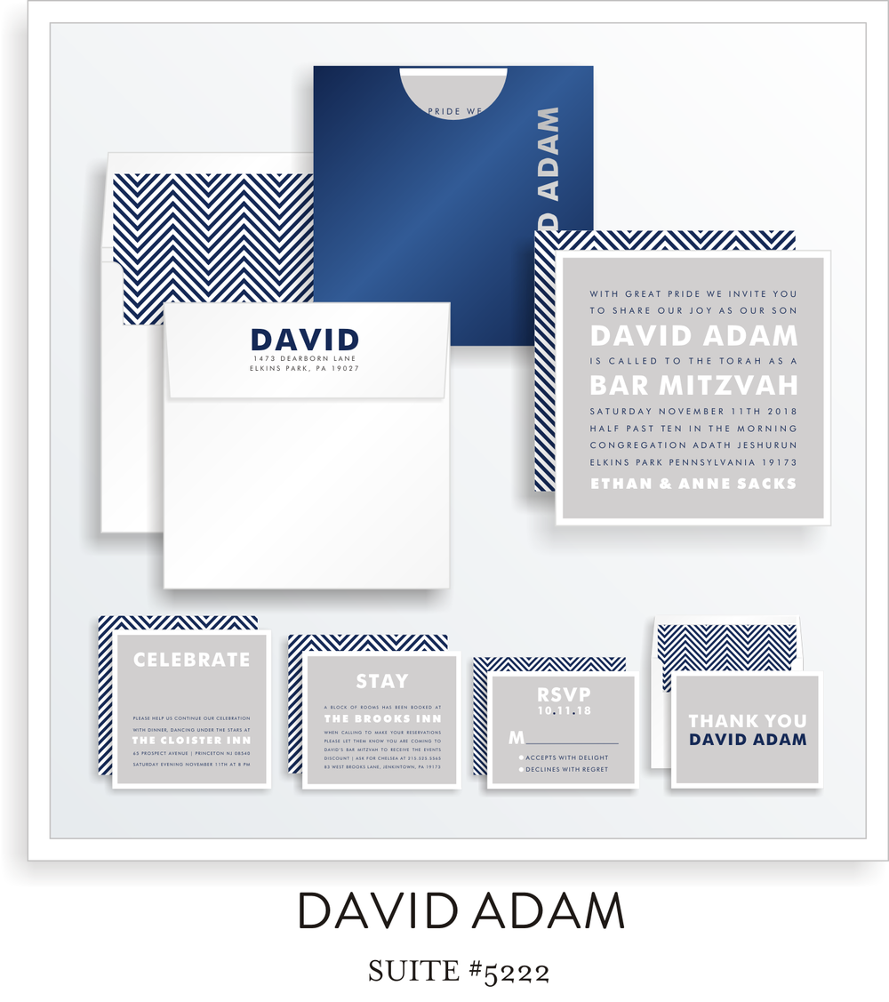Copy of  <a href=/bar-mitzvah-invitations-5222>Suite Details→</a><strong><a href=/david-adam-in-colors>see more colors→</a></strong>