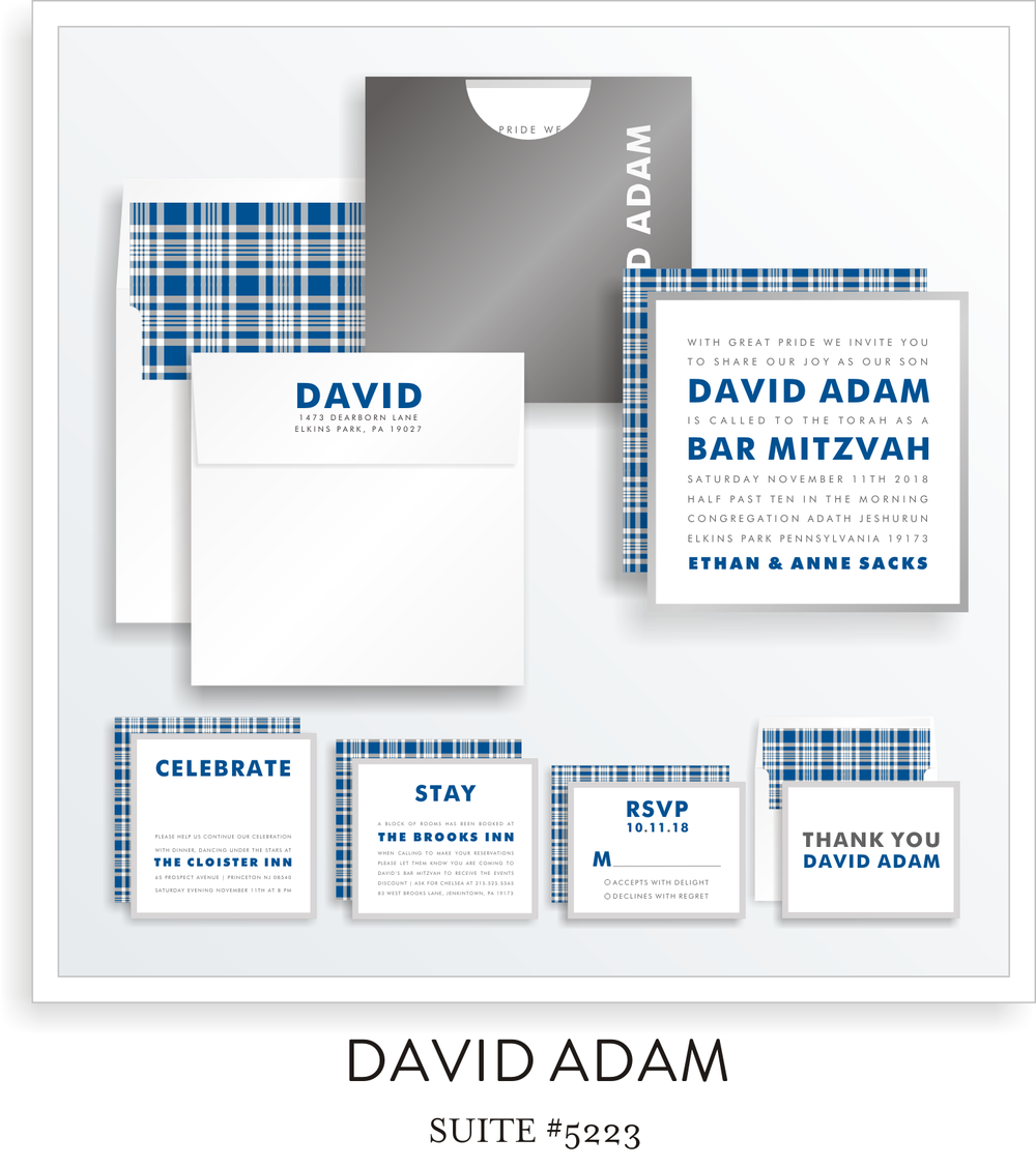 Copy of <a href=/bar-mitzvah-invitations-5223>Suite Details→</a><strong><a href=/david-adam-in-colors>see more colors→</a></strong>