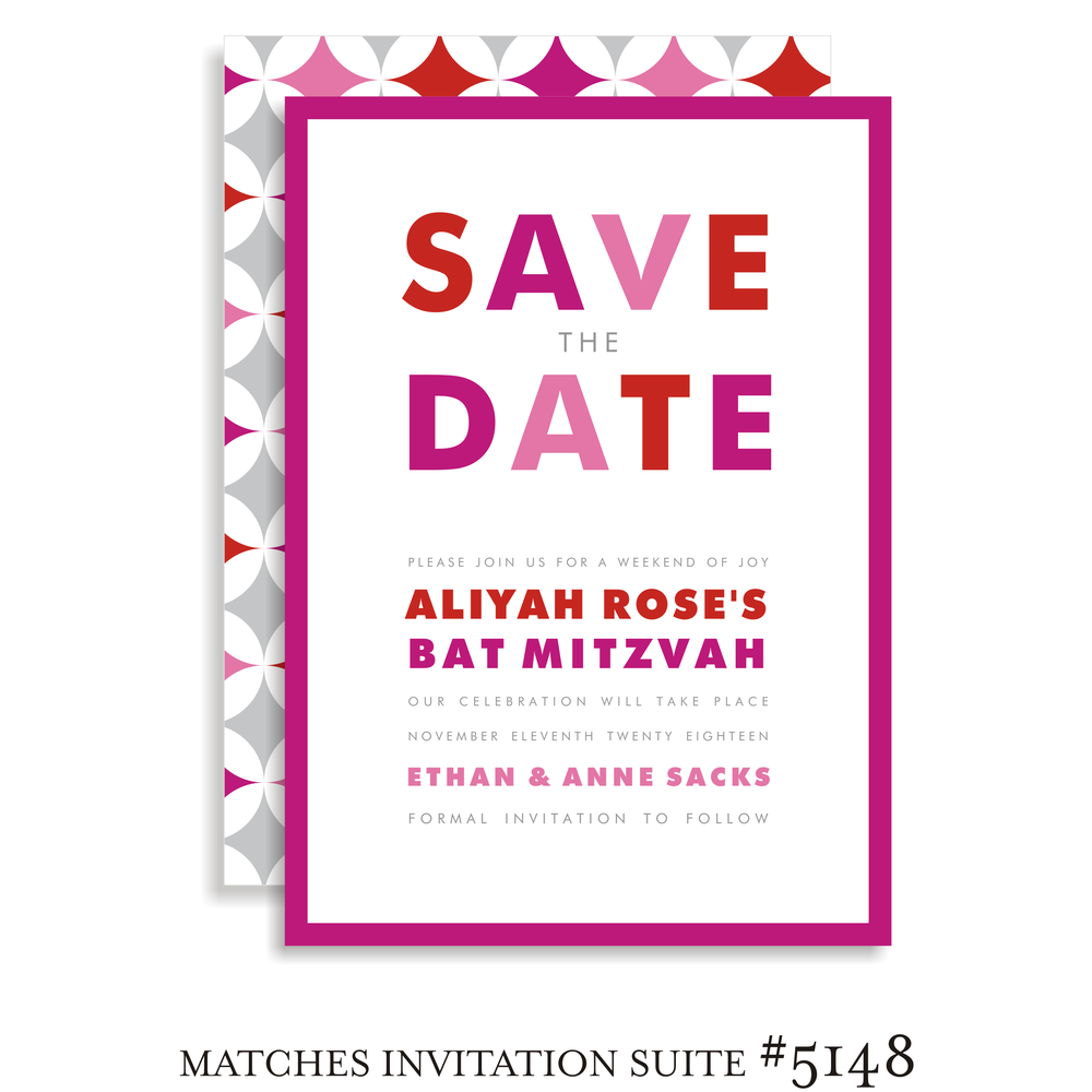 Save the Date Bat Mitzvah Suite 5148 - Aliyah Rose