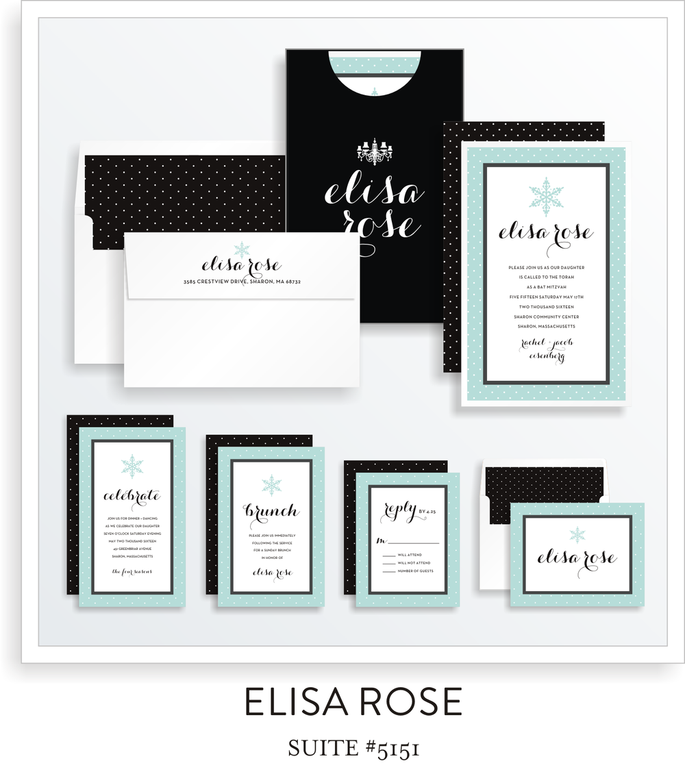 Bat Mitzvah Invitation Suite 5153 - Elisa Rose