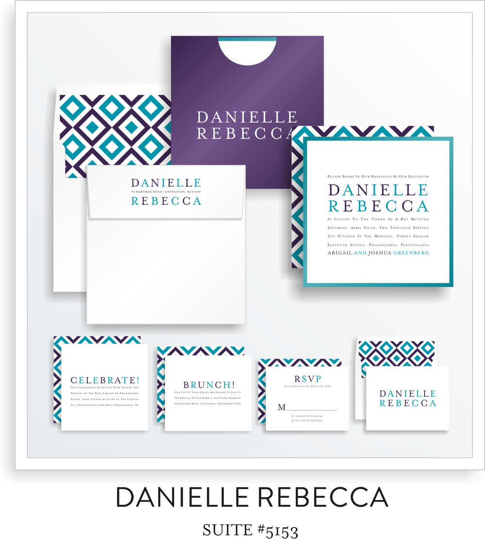 Copy of Copy of Bat Mitzvah Invitation Suite 5153 - Danielle Rebecca