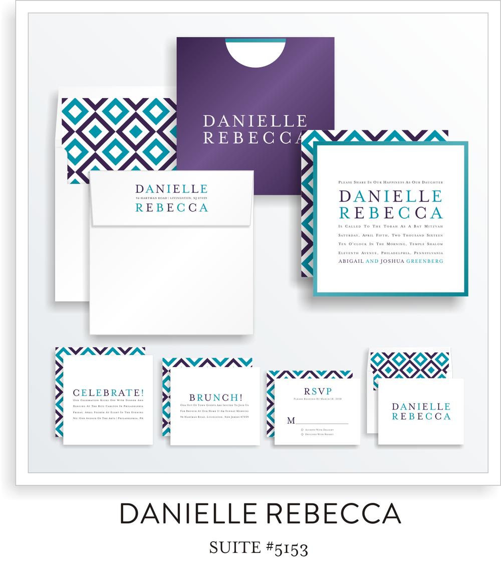 Copy of Copy of Bat Mitzvah Invitation Suite 5153 - Danielle Rebecca