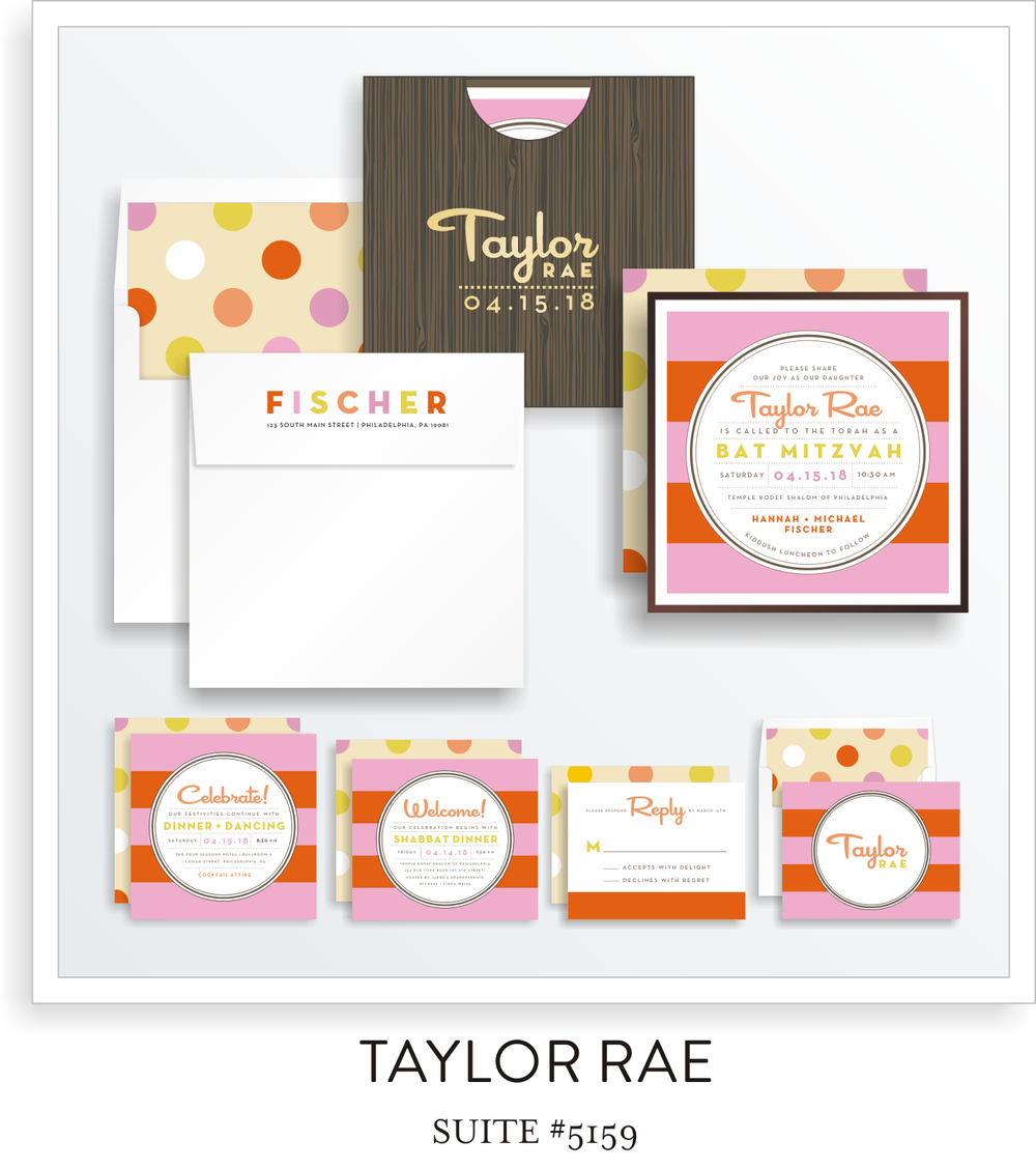 Bat Mitzvah Invitation Suite 5159 - Taylor Rae