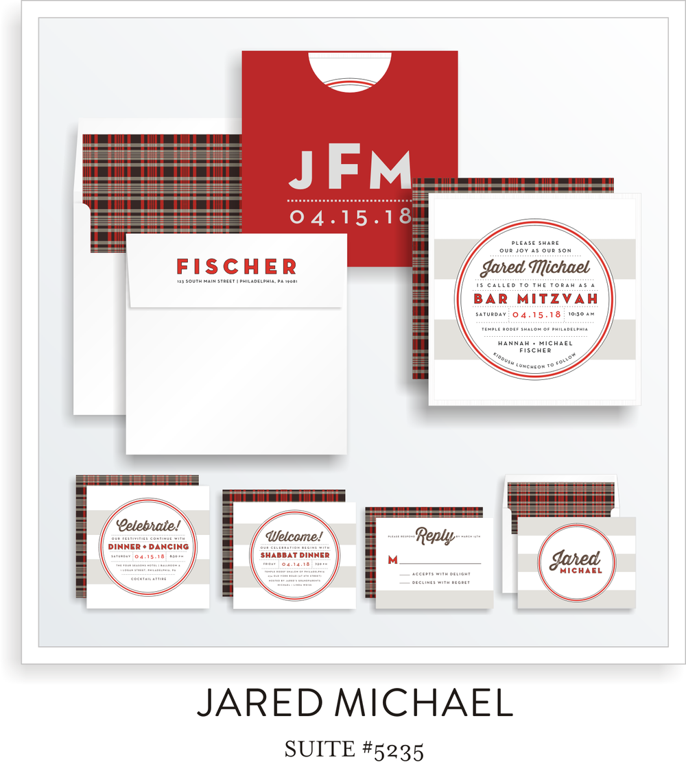Bar Mitzvah Invitation Suite 5235 - Jared Michael