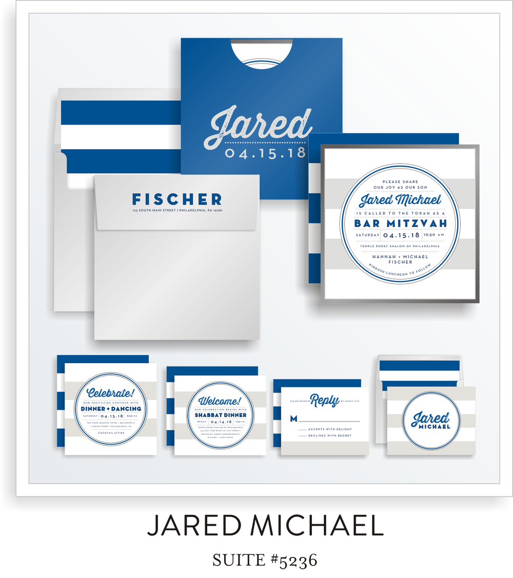 Bar Mitzvah Invitation Suite 5236 - Jared Michael