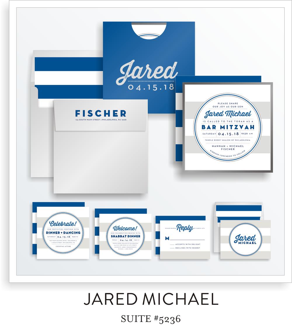 Bar Mitzvah Invitation Suite 5236 - Jared Michael