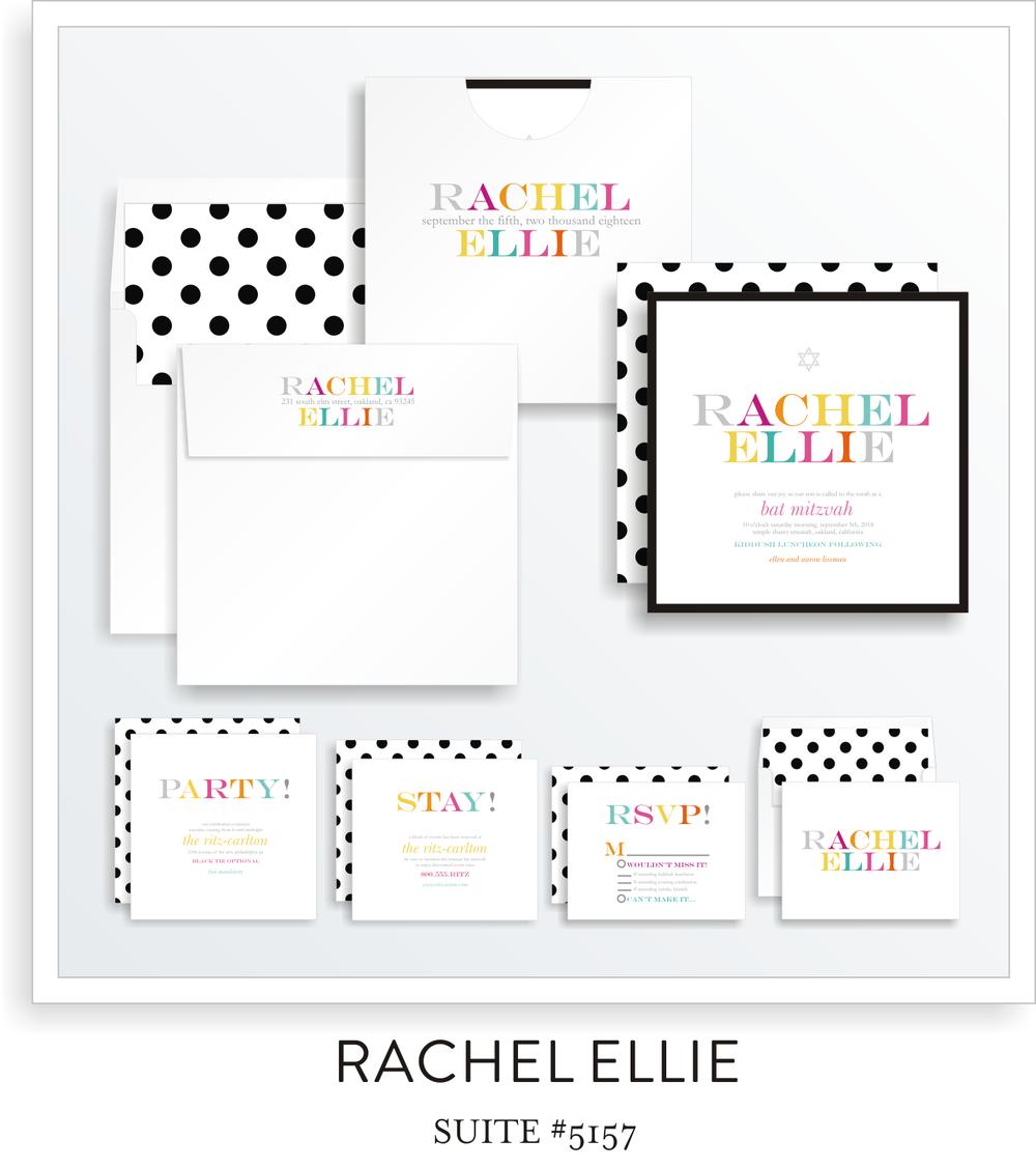 Bat Mitzvah Invitation Suite 5157 - Rachel Ellie