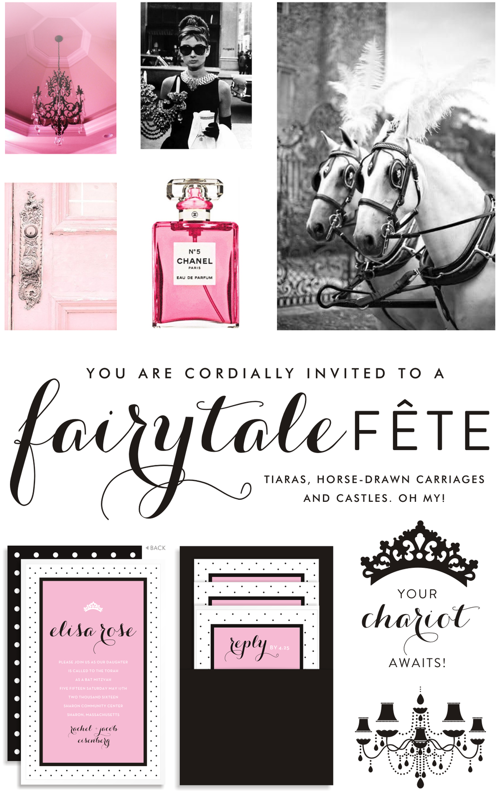 Sarah Schwartz Bat Mitzvah Invitation Luxe Pink and Polka Dots
