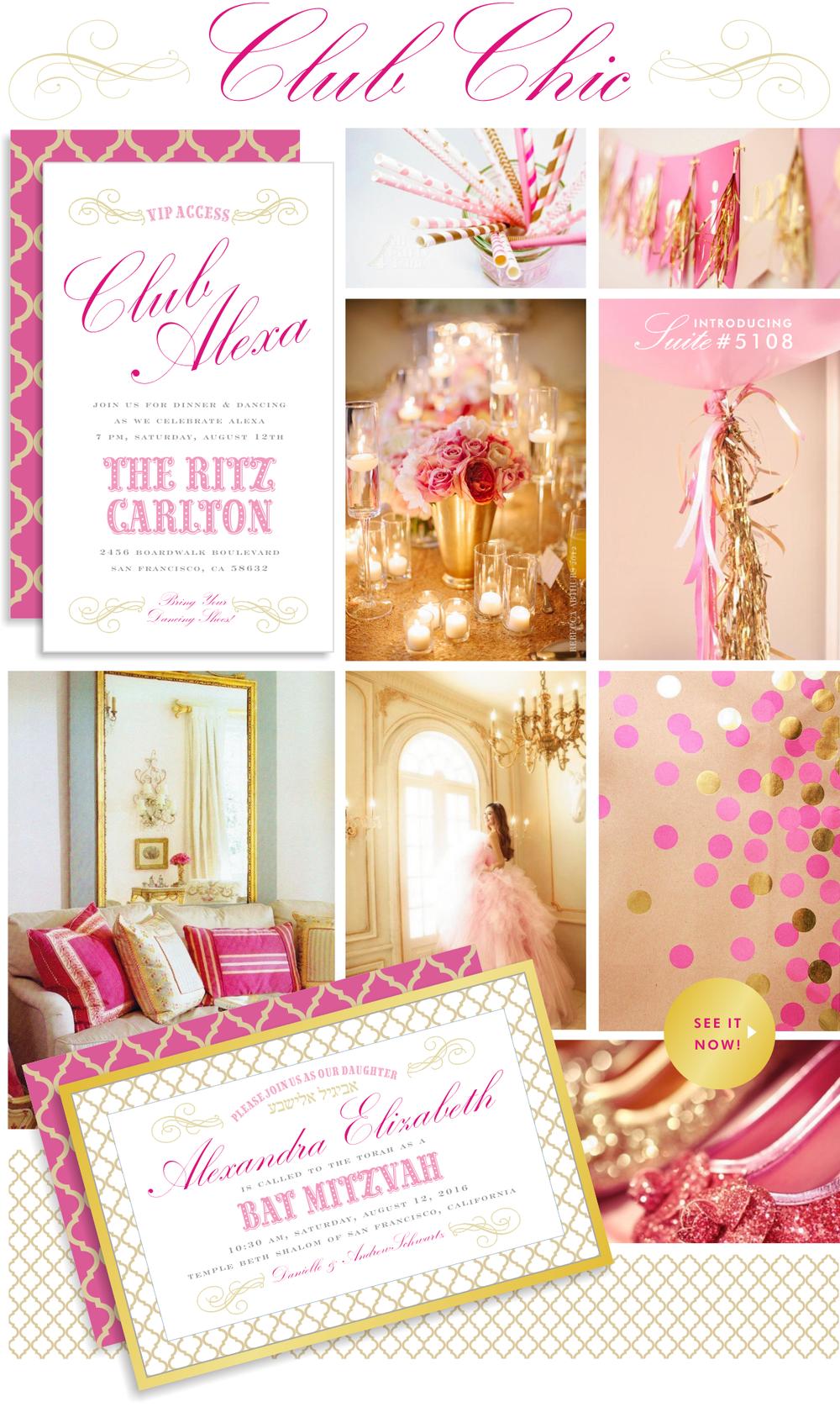 Sarah Schwartz Bat Mitzvah Club Chic Ideas in Pink