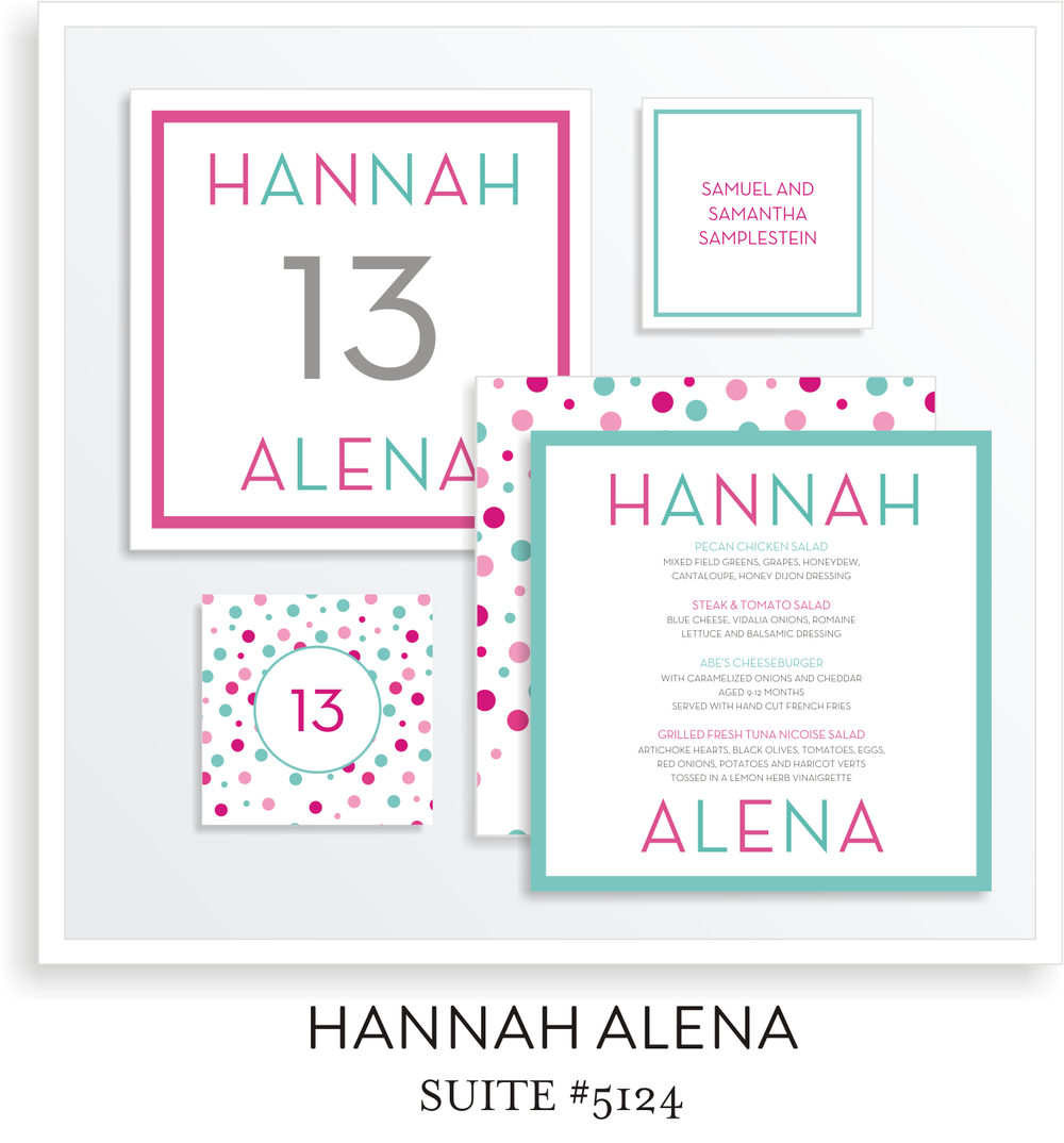 Table Top Decor Bat Mitzvah Suite 5124 - Hannah Alena