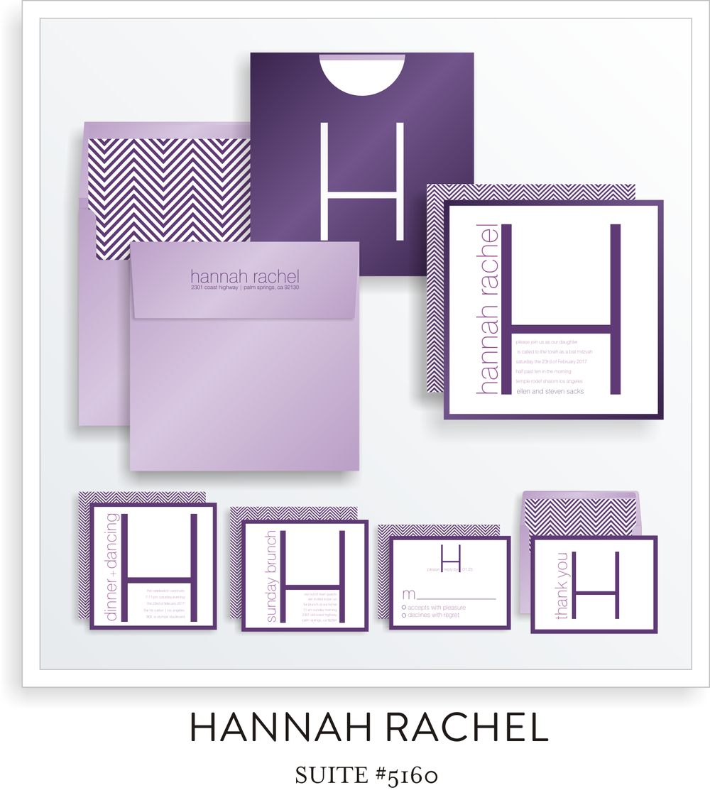 Bat Mitzvah Invitation Suite 5160 - Hannah Rachel