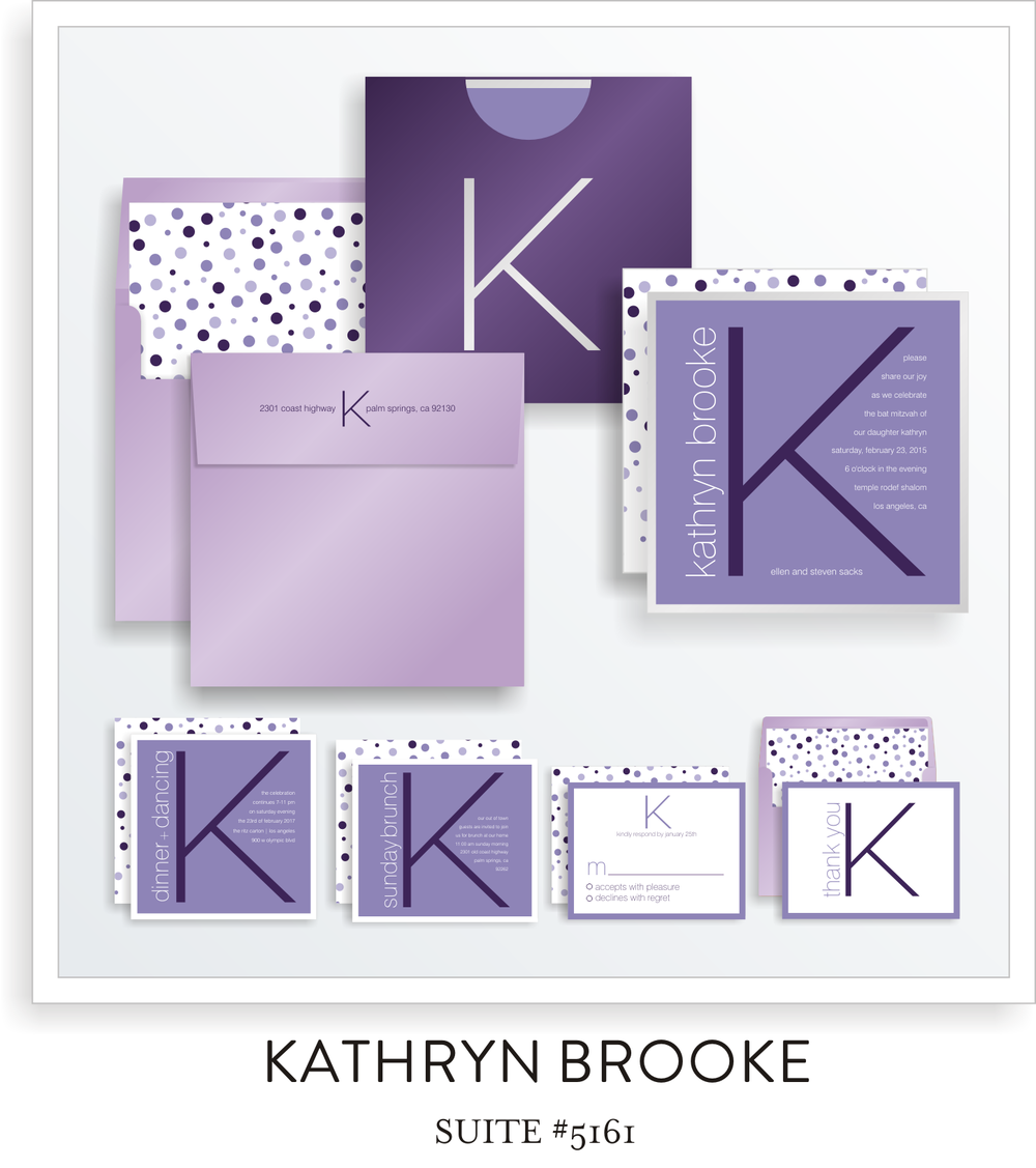 Copy of Copy of Bat Mitzvah Invitation Suite 5161 - Kathryn Brooke
