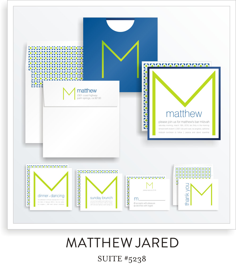 Bar Mitzvah Invitation Suite 5238 - Matthew Jared